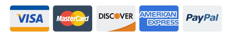 credit card icons - visa, mastercard, discover, american express, paypal
